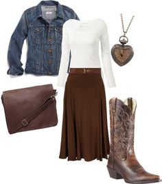 """Western Inspired"" by daisyhedo on Polyvore This would be more fun if the shirt were Western-themed: plaid or a little calico maybe . . ."