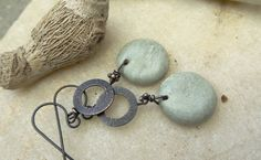 Pastel Round Jade Rustic Earrings by annamei on Etsy
