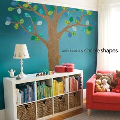 Pattern Tree with Leaves Ceiling Style - Peel and Stick Repositionable Fabric Stickers - I also love that the books are ordered by color