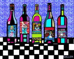 Alice In Wonderland Art Wine Bottles Surreal by HeatherGallerArt, $20.00