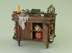 Witches Potion Sideboard or Cupboard - 1:12 or 1/12 scale Artisan Dollhouse Miniature for Witches or Wizards Cottage or Project by TinytownMiniatures on Etsy