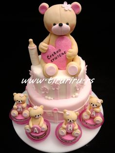 """replace the bottle with a number """"1"""" candle write """"happy birthday"""" on the heart and spell her name on the four little bears :)"""