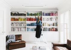 little town life   color sorted bookshelves