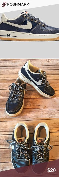 Nike Youth Air Force1 Navy & White Great used condition, some scuffs on sides of shoes and creases in leather, soles are in excellent condition! Style-# 748981–401. First photo is stock from the manufacturer. Nike Shoes Sneakers