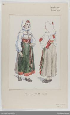 Kvinnodräkt, Orsa socken, DalarnaAkvarell av E. Folk Costume, Costumes, Swedish Fashion, Museum Collection, Folk Art, Watercolor Paintings, Scandinavian, Textiles, Image Search