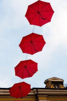 Flying Umbrellas in Cuneo, Italy
