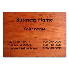 Business Card on Cherry Stained Wood. This is a fully customizable business card and available on several paper types for your needs. You can upload your own image or use the image as is. Just click this template to get started!