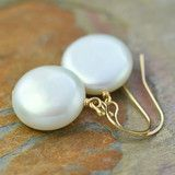 AA Grade, White coin pearl earrings on gold filled earwires