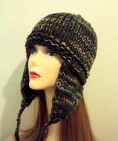 Knit Winter Hat with Ear Flaps Camo Hat Snow Hat Camouflage Beanie Fall Winter Women Men Winter Accessories Gift Ideas Under 50by GrahamsBazaar, $32.99