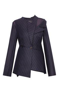 Asymmetrical Pinstripe Blazer by BEVZA for Preorder on Moda Operandi Suit Fashion, Fashion Dresses, Womens Fashion, Fashion 2018, Fashion Brands, Classy Work Outfits, Fashion Details, Fashion Design, Tailored Jacket