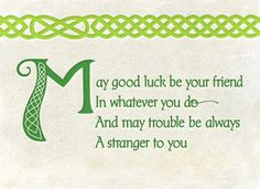 Make good luck be your friend in whatever you do and may trouble be always a stranger to you. Irish blessing