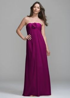 Davids Bridal Bridesmaid Dresses Long Chiffon Dress with Removable Flower Detail Style VC307, Sangria, 22 by Davids Bridal At your-online-fashion.com