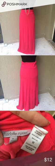 """🆕Charlotte Russe poppy red maxi skirt Spring & summer must have! This poppy red (hot pink mixed with coral) maxi skirt is a pop of color in a casual fun piece! EUC 13"""" waist 37"""" length with waist not rolled ✅I ship same or next day ✅Bundle for discount Charlotte Russe Skirts Maxi"""