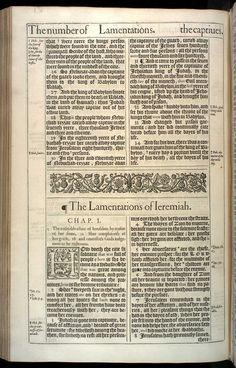 Lamentations Chapter 1 Original 1611 Bible Scan, courtesy of Rare Book and Manuscript Library, University of Pennsylvania