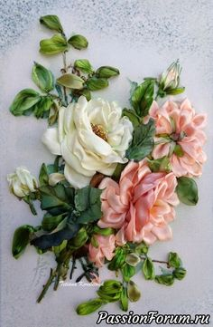 Wonderful Ribbon Embroidery Flowers by Hand Ideas. Enchanting Ribbon Embroidery Flowers by Hand Ideas. Floral Ribbon, Ribbon Art, Diy Ribbon, Ribbon Crafts, Flower Crafts, Ribbon Embroidery Tutorial, Silk Ribbon Embroidery, Embroidery Bracelets, Creative Embroidery