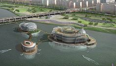 Seoul, South Korea will now be home to the largest floating island in the world. This remarkable piece of architecture will be one of Seoul's major landmarks. Set on the River Han the island is built in three parts held together by twenty three weather proof chains secured to a buoy. The island has been designed such that it will stay afloat even in case of a flood.