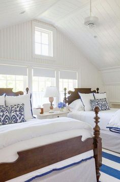 Excellent Coastal Style Patrick A Hearn Architect – Click through to find more beautiful coastal inspired rooms! The post Coastal Style Patrick A Hearn Architect – Click through to find more be . Coastal Bedrooms, Coastal Living Rooms, Guest Bedrooms, Coastal Cottage, Coastal Decor, Coastal Curtains, White Cottage, Coastal Farmhouse, Trendy Bedroom