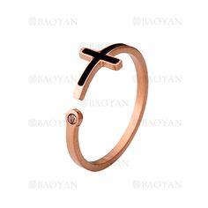 anillo de santa cruz negro especial con cristal brillo en acero rosado inoxidable -SSRGG161937