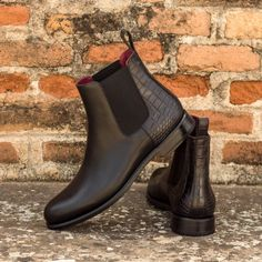 Handcrafted Custom Made Women's Chelsea Boot in Black Croco Embossed and Black Painted Calf Leather From Robert August. Create your own custom designed shoes.