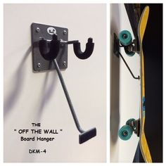 """DKM-4 """" Off The Wall """" Skateboard hanger. Keeps board off the floor and wheels off the wall."""