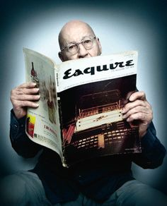 Legendary cover designer George Lois celebrates the 50th anniversary of his first Esquire cover (October 1962). Photograph by Platon, from Fast Company.  More photos and info here.