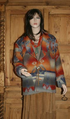 """RALPH LAUREN Rare Original Vintage Santa Fe Authentic Dry Goods """"Country"""" Green Label Collection Blanket Stitched Western Jacket"""