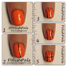 Super easy basketball nails! got a really good idea to go with these :)