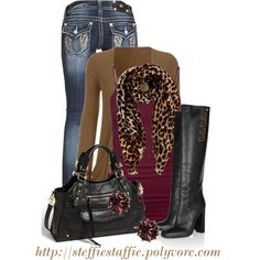 """Burgundy, Camel & Leopard"" by steffiestaffie on Polyvore"