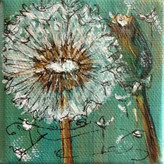 Dandelion paitning  Tiny original painting  The  WISH II   dandelion 2.75 inches by 2.75 inches