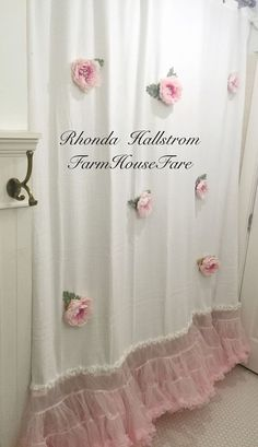 Shower Curtain Long Pink Flower Tulle Shabby Chic by FarmHouseFare