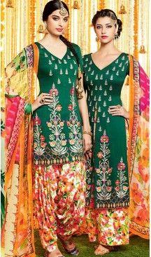 Punjabi Patiala Style Straight Cut Cotton Patiyala Suits in Bottle Green…