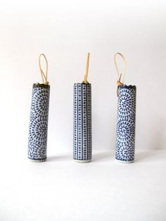 Wall Hanging Ceramic Vases with Leather Cord