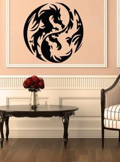 Housewares Vinyl Decal Yin Yang Dragons Home Wall Art Decor Removable Stylish Sticker Mural Unique Design for Any Room 220 by Decal House