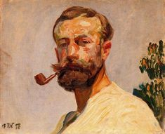 smoking in painting Self-portrait 1 de Frantisek Kupka Czech Republic) Figure Painting, Painting & Drawing, Encaustic Painting, Frantisek Kupka, L'art Du Portrait, Art Moderne, Paintings I Love, Art Abstrait, Anime Comics