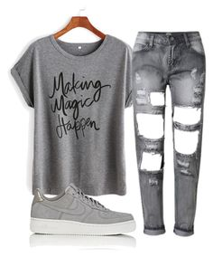"""""""3 shades of grey"""" by aaisha123 ❤ liked on Polyvore featuring NIKE"""