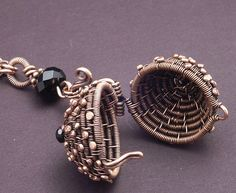 coiled locket  Tutorial for wire basket:  http://wiredelements.com/learning-center/free-tutorials/trinket-box-tutorial/