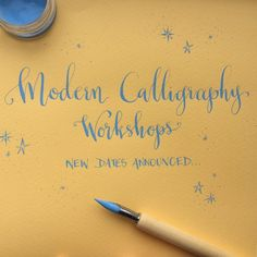 Blue on yellow   Modern Calligraphy