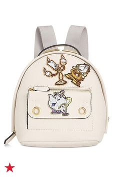 Mix, match and personalize this mini faux-leather backpack with Beauty and the Beast character patches. It's the perfect fun accessory to complete your weekend look. Shop this and more from the Danielle Nicole Disney Collection at Macy's!