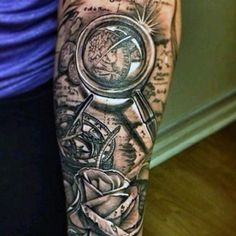 Magnifying Glass World Map Tattoo With Rose For Men