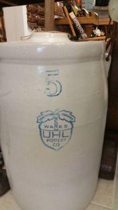 4 & 5 gallon Evansville Uhl jugs | uhl pottery | Pinterest
