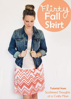 This Flirty Fall Skirt from Jamie of Scattered Thoughts of a Crafty Mom looks incredible paired with a tee and a denim jacket! Learn how to sew your very own skirt based on your body measurements and see a few of our fabric recommendations from the shop today at blog.girlcharlee.com