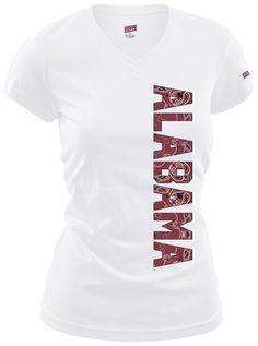 White Alabama Paisley Red Print Block Text T-Shirt #BeallsFlorida #RollTide