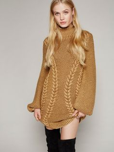 Back To Back Sweater Mini | Cozy up in this thick knit sweater mini dress with a comfy turtleneck and cute rounded hem.