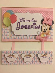 cartel de bienvenida nacimiento bebe mickey  minnie disney