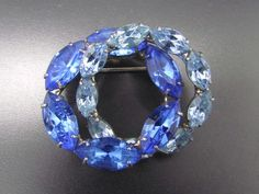 Vintage Designer Sapphire & Light Blue Marquis Cut Rhinestone Brooch Pin