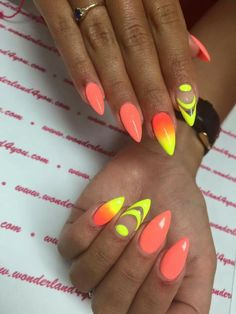 Fabulous nails reference number 7876535355 - contemplate the cool easy peasy design plan right here. Neon Yellow Nails, Yellow Nails Design, Neon Nails, Orange Nails, Fabulous Nails, Perfect Nails, Cute Nails, Pretty Nails, Nail Art Designs