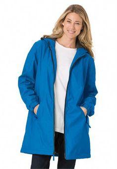 002c011eca58f Womens Plus Size Raincoat Slicker Repels Water Drawstring Hood Fleece  Lining   Read more at the image link.