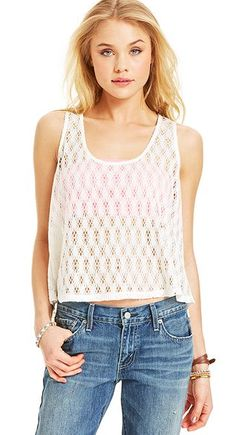 Eyeshadow open-knit tank top. Perfect for festival fun.
