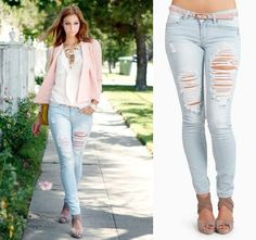NWT LIGHT BLUE DESTROYED Cut-out Vintage Ripped Skinny Jeans Pencil Pants SEXY