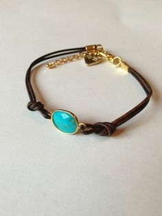 Magnesite Faceted Gemstone & Leather Bracelet by SunnyDsMarket, $21.00